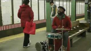 "drummer and vocalist ""mr. reed"" rocks the bedford street L station in brooklyn"