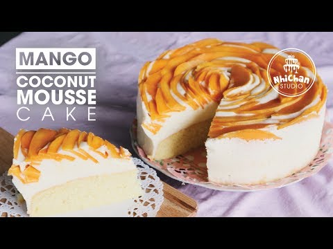 How To Make Mango Coconut Mousse Cake   Cách Làm Bánh Mousse Xoài Dừa   Nhi Chan