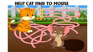 Intelligent Games for Children | Educational Lines Puzzle games | Help Cat to Find Mouse #1
