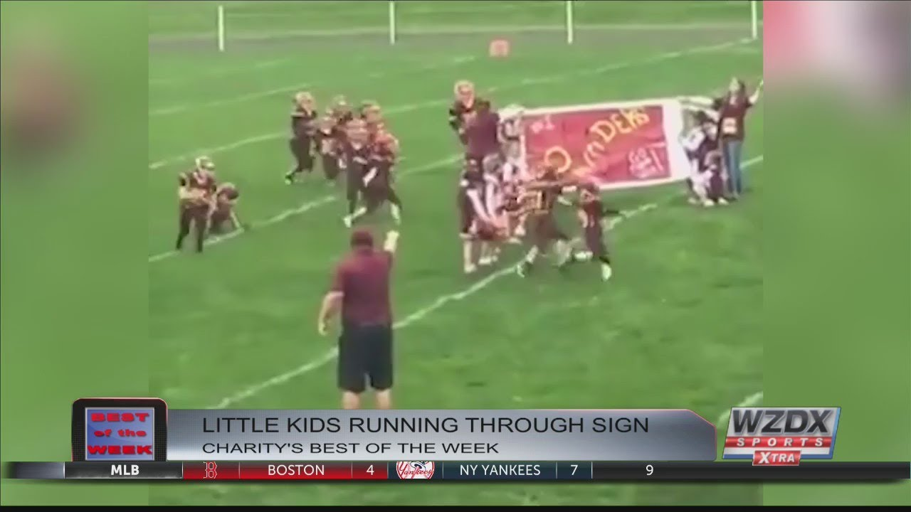 Charity's Best of the Week - A youth football team fails at running through sign