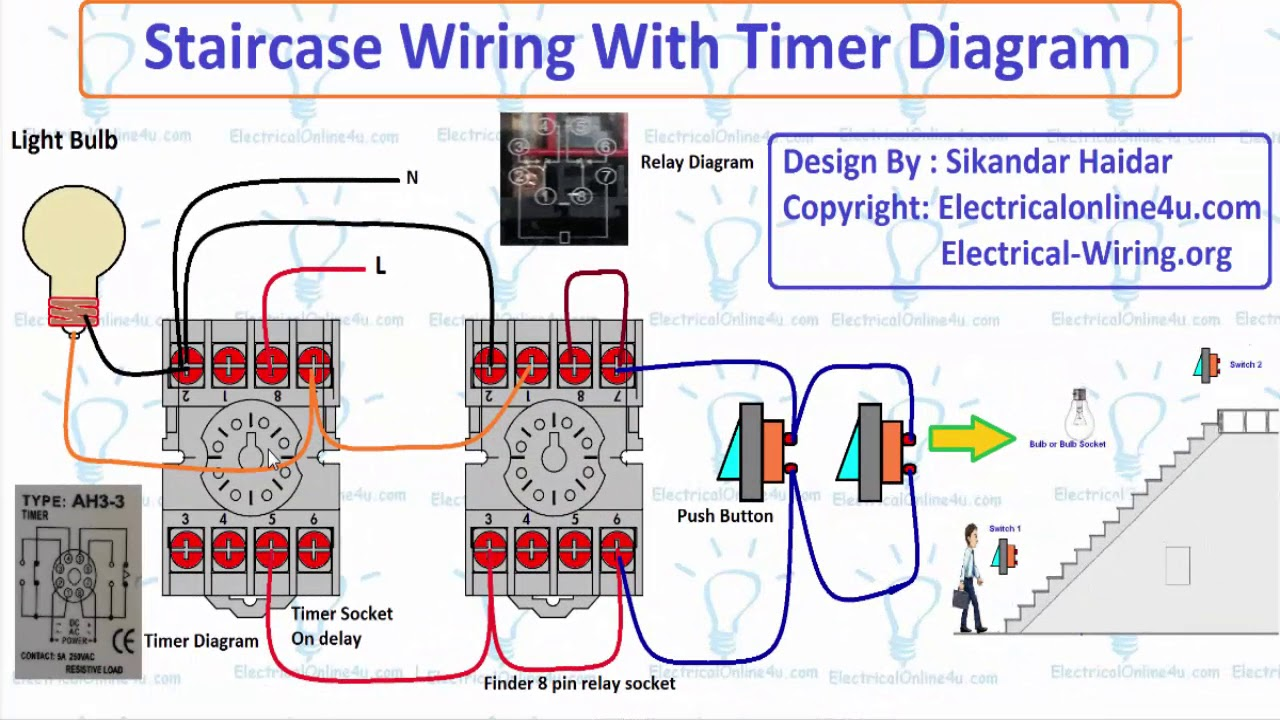 staircase wiring with timer diagram explain (hindi/urdu)
