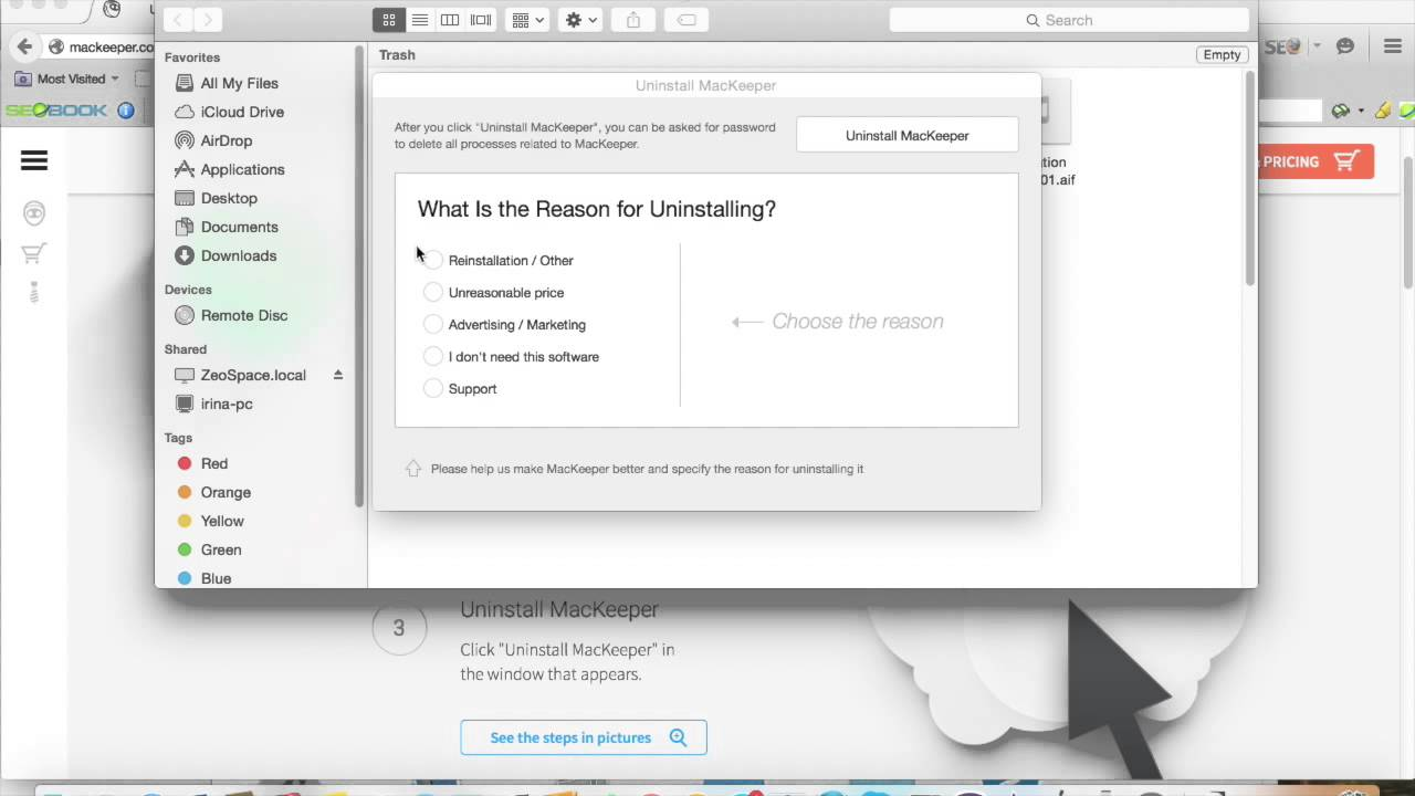 how to uninstall on mac mackeeper