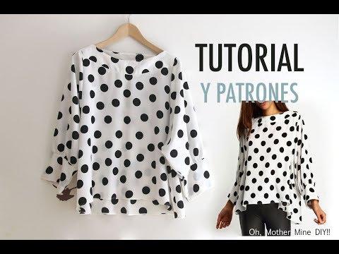Costura: Blusa de lunares para mujer (patrones gratis)