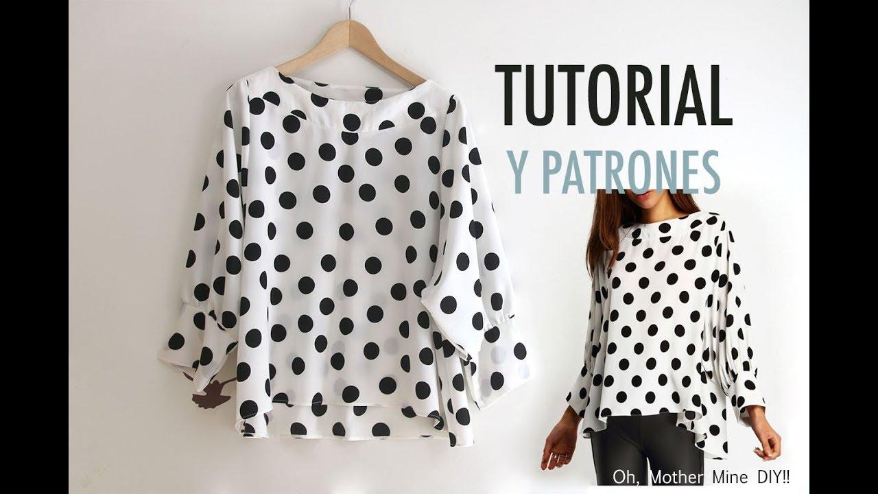 Costura: Blusa de lunares para mujer (patrones gratis) - YouTube