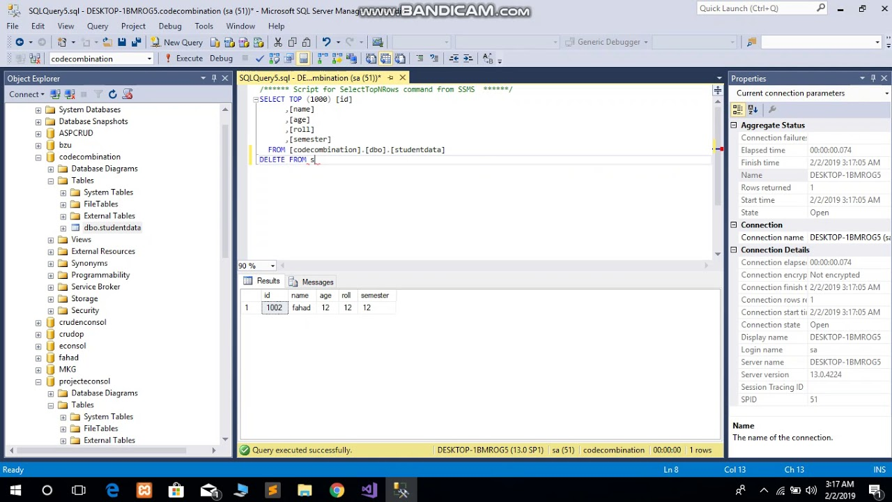 How to set Auto Increment to one 1 even after deleting records in SQL Server