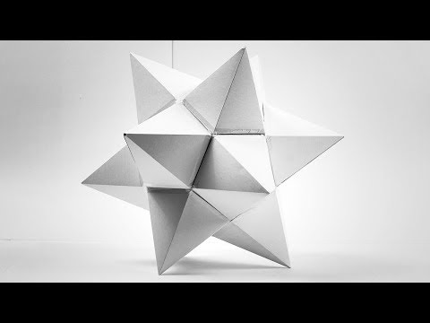 Красивый звездчатый многогранник из бумаги, star polyhedron