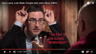 "John Oliver calls Dalai Lama a ""demon"" Dalai Lama say ""yes"" both hold up Demon Horns!"