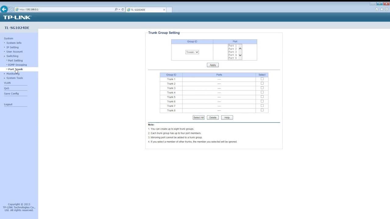 TP LINK TL SG1024DE webinterface