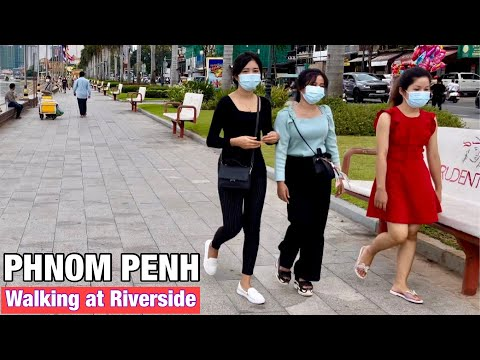 Cambodian tourism 2021 | Sunday walking tour in Phnom Penh city at Riverside