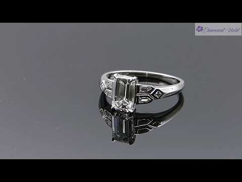 GIA 1 22CT ANTIQUE VINTAGE DECO EMERALD CUT DIAMOND ENGAGEMENT WEDDING RING PLAT