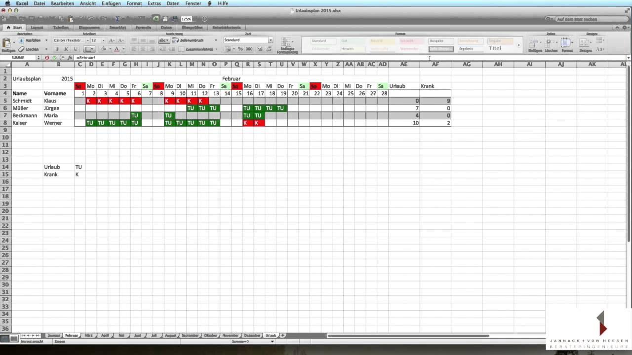 Excel Grundkurs 3 - Formeln 2 - Bedingte Formatierung - Urlaubsplan ...