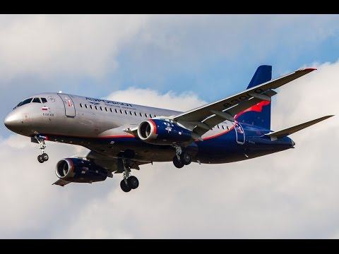 Aeroflot Airlines Sukhoi Superjet 100-95B landing at Moscow Sheremetyevo International Airport