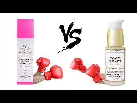 Drunk Elephant T.L.C. Framboos Glycolic Night Serum vs Sunday Riley Good Genes
