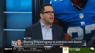NFL Live Today - Sterling Shepard agrees to extension with Giants