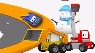 Schneemann und Riesenschlitten Rutsche Lerne mit den kleinen Trucks
