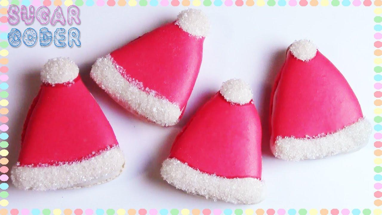 Christmas Santa Hat Macarons Cookies Dessert Ideas