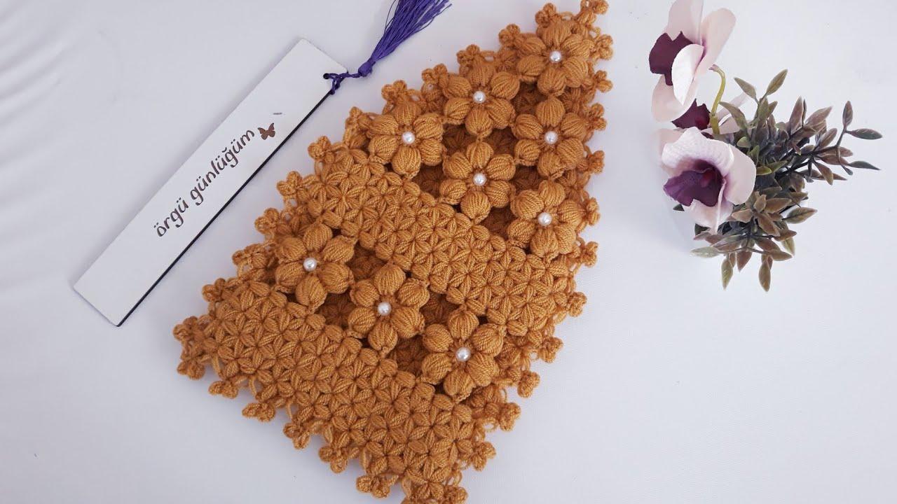incili çiçekli kese lif modeli yapımı