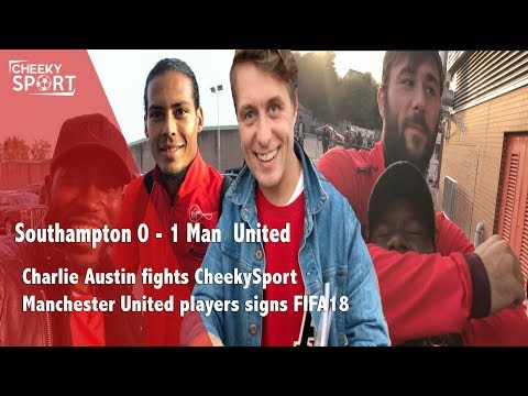 Charlie Austin Headlock Cheekysport   Man Utd players sign FIFA18   Southampton 0-1 Man Utd