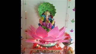 Ganapati Decoration /  Diy Lotus / Homemade Ganapati Decoration / Ganpati Decoration Idea