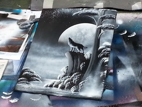 spray paint art - Wolf and moon - made by street artist