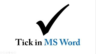 How to bring the Tick Symbol or Check Mark in MS Word ✓