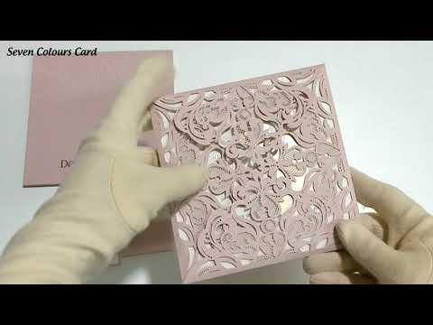 110 Pink soft finish lasercut wedding invites