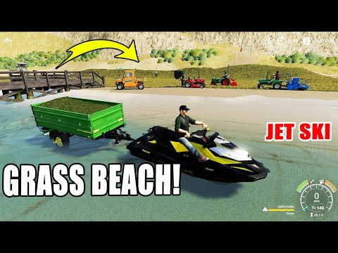 Farming Simulator 19: Beach Grass Planting!! Crazy Jet Ski ! Driving on land and sea!