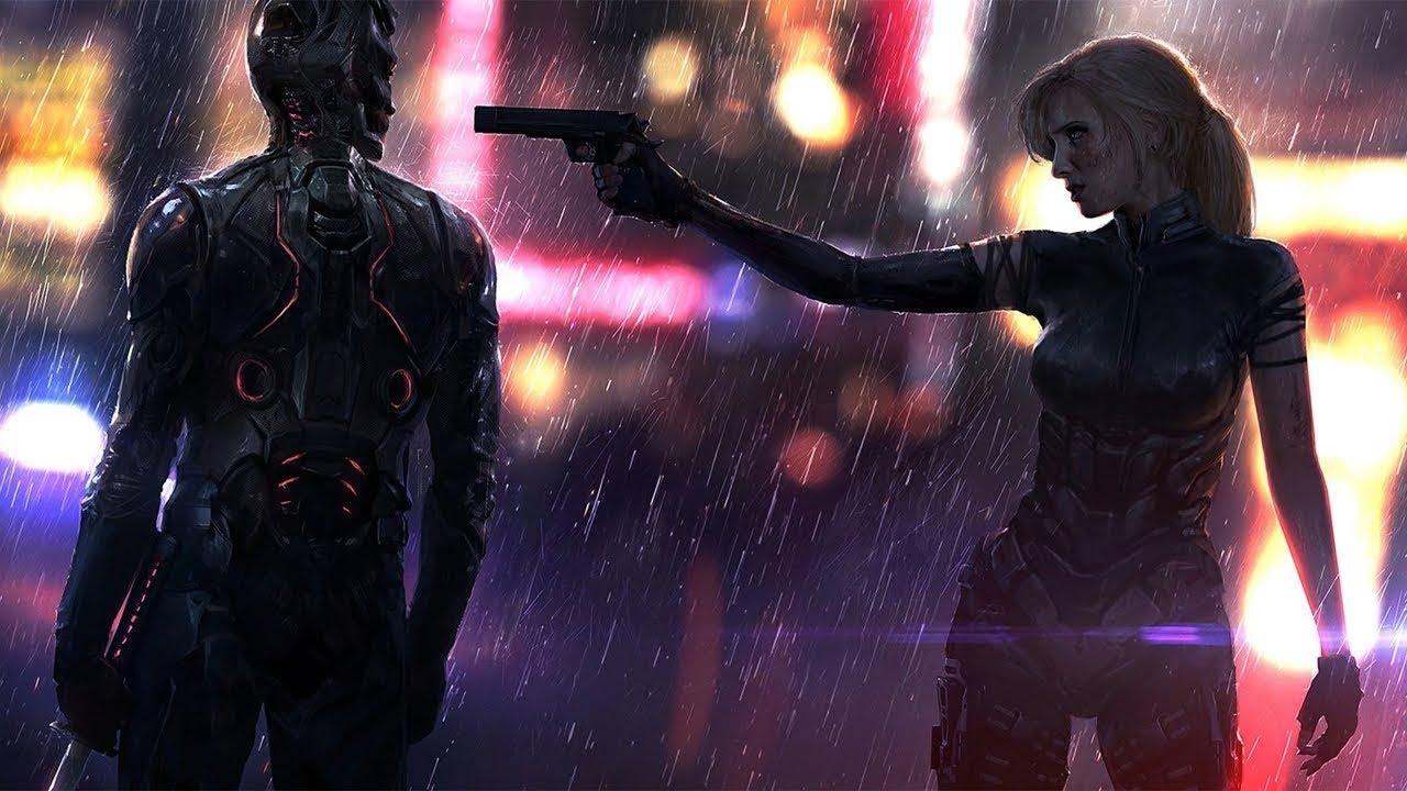 Women Warrior Artwork Sword Rain Cyberpunk Cyberpunk