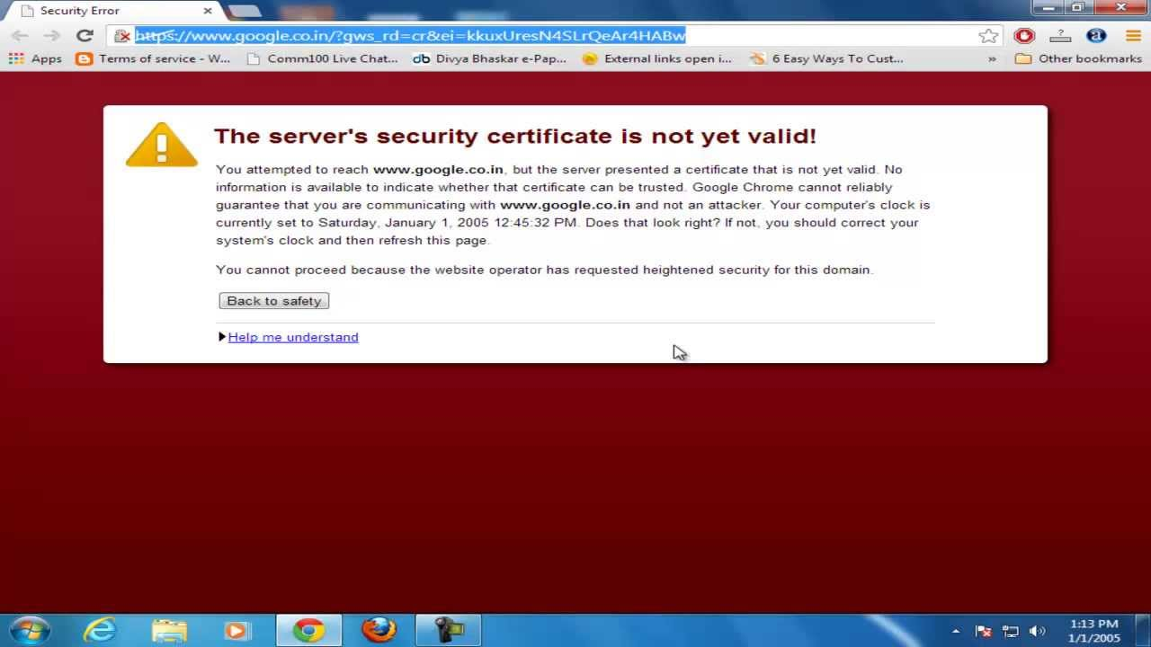 How to fix the servers security certificate is not yet valid how to fix the servers security certificate is not yet valid error from chrome youtube xflitez Gallery