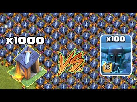 100 Max Super PEKKA Vs Guard Posts (x1000)  🔥 | COC PRIVATE SERVER