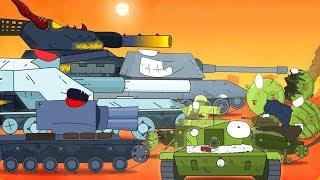 КВ 44 Monster baja melawan tank. Tank kartun untuk anak-anak. Animasi Monster Truck. Dunia tank.