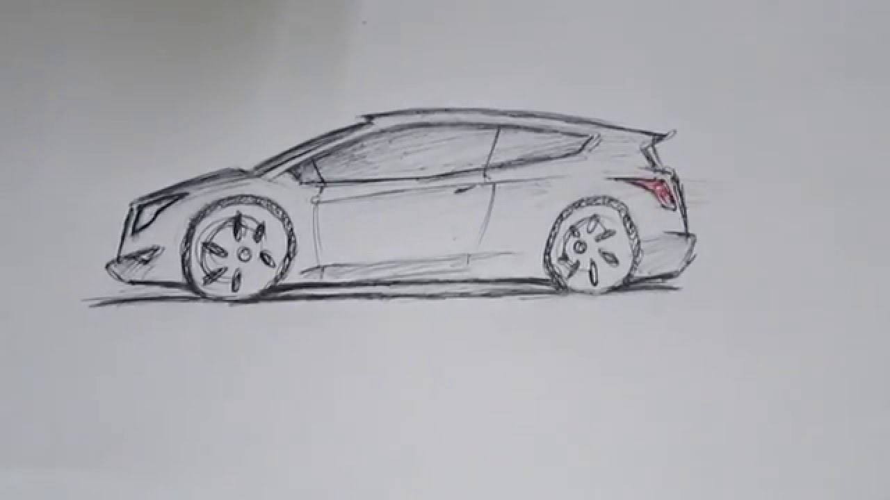 how to sketch a simple car | for beginners | 2016 - YouTube
