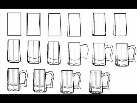 How To Draw A Beer Mug Glass Step By Step Drawing Tutorial