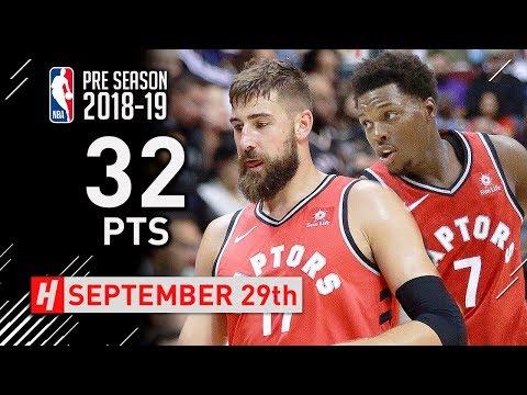 Kyle Lowry & Jonas Valanciunas Full Highlights vs Trail Blazers 2018.09.29 - 32 Pts Combined