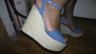 A Man in Heels - Bebe Blue Patent Platform Wedges