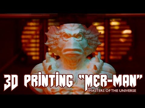 """3D Printing Timelapse of Mer-Man from """"Masters of the Universe"""" 