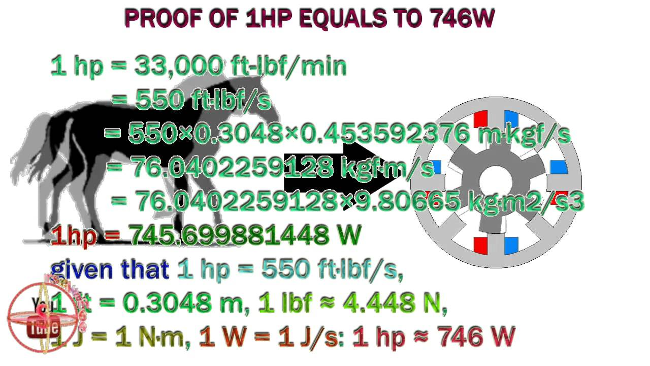 proof of hp to watts,how to convert 1hp to 746w,1hp = what kw ...
