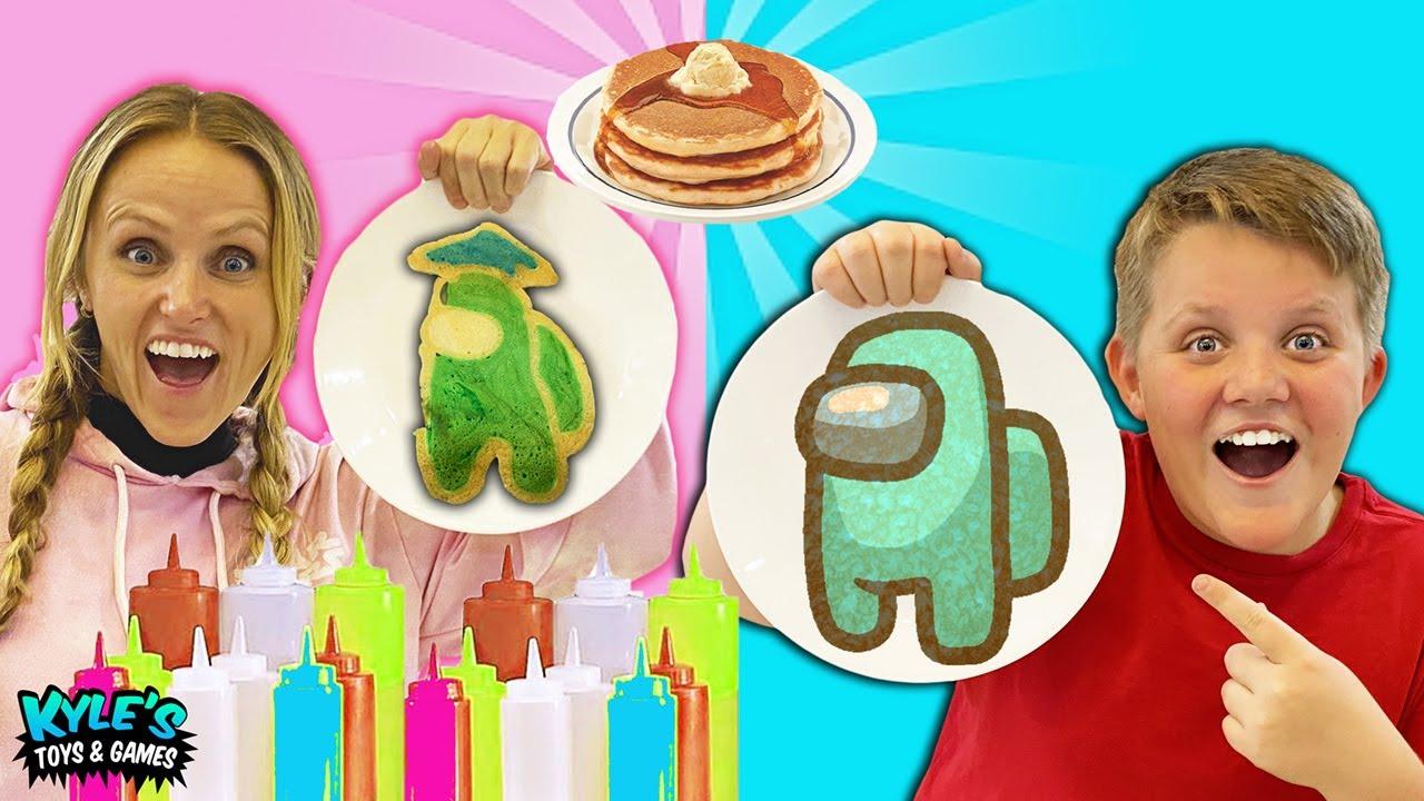 DIY Breakfast Pancake Art Challenge! FUN AND CREATIVE AMONG US Family GAME!