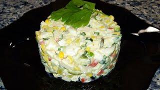 КРАБОВЫЙ САЛАТ С РИСОМ 🌟 Crab salad with rice