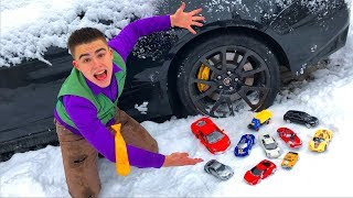 Janitor Mr. Joe found A LOT OF Toy Cars in Cadillac CTS-V VS Chevy Camaro in Snow for Kids