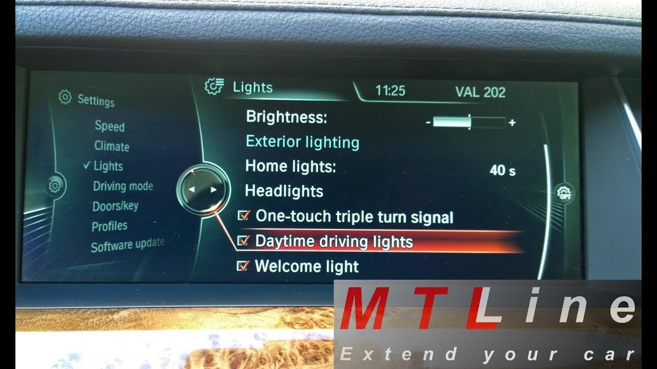 BMW 7 Series - F01, MY2012 - DRL menu option activation - vključitev menija  za izklop dnevnih luči