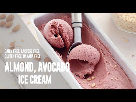 Homemade Almond Avocado Ice Cream (vegan, dairy free, lactose free, banana free)