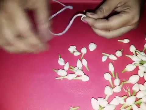 How To Tie Flowers Make Flower Garland Without Needle Madurai Malli Mallige