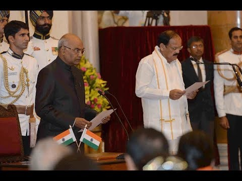 President Kovind administers the oath of office of the Vice President Venkaiah Naidu