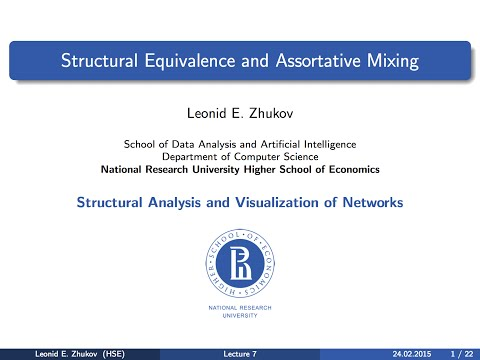 Network Analysis. Lecture 7. Structural Equivalence And Assortative Mixing