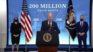 President Joe Biden speaks after 200 million vaccinations