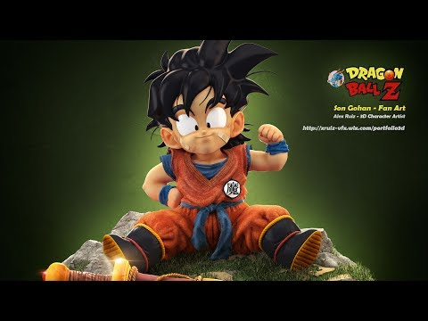 [sculpture only] Full Timelapse  Son Gohan DBZ Fan Art  02 ZBrush