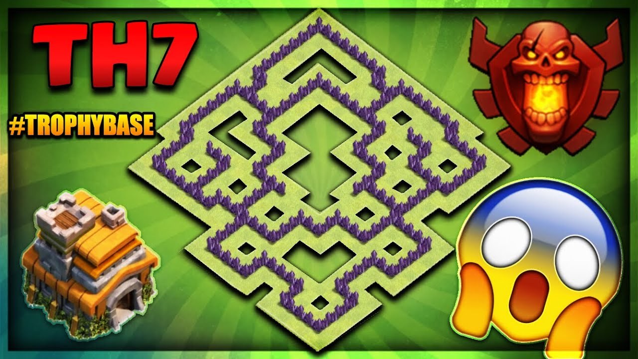 Brand New 2018 Town Hall 7 Th7 Trophy Defence Base Unstoppable Clash Of Clans Youtube