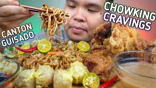 CHOWKING CHINESE STYLE FRIED CHICKEN AND PANCIT CANTON GUISADO MUKBANG | Collab W/ @Jelly's Kitchen