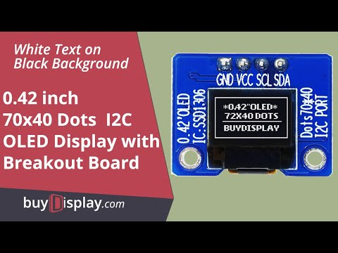 "Connect I2C White 0.42"" inch OLED Display 72x40 to Arduino and Raspberry Pi with Library,Example"